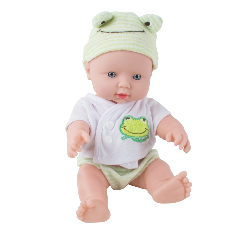 CARESHINE Baby Doll Soft Vinyl Silicone Interactive Doll Sound Newborn Baby Toy Birthday Gift (Green)