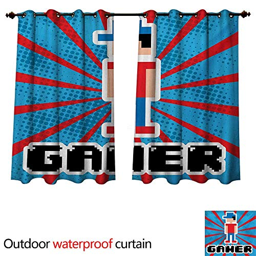 - WilliamsDecor Video Games Outdoor Ultraviolet Protective Curtains Blue and Red Striped Boom Beams Retro 90s Toys Boy with Cap W63 x L63(160cm x 160cm)