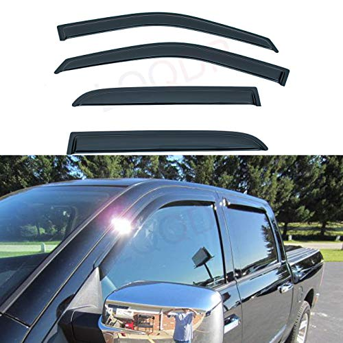 LQQDP Set of 4 Front+Rear Smoke Sun/Rain Guard Outside Mount Tape-On Acrylic Window Visors For Dodge Ram 09-18 1500 10-18 2500/3500/4500/5500 Crew & Mega Cab With 4 Full Size ()