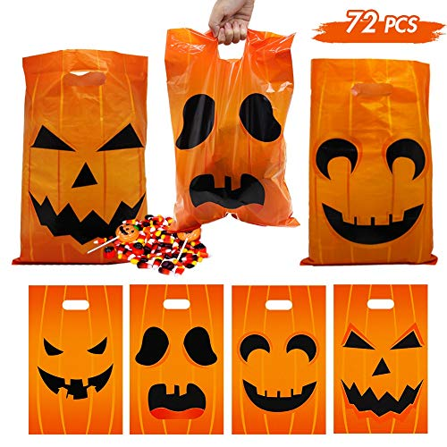 Lulu Home Halloween Candy Bags, Jack O Lantern Goody Bags for Trick or Treat, Halloween Party Favor Tote Bags 72PCS