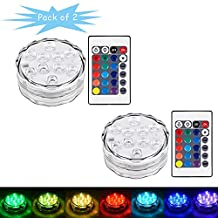 Onerbuy 2 Pack Submersible LED Lights Battery Operated RGB Color Changing Accent Light with Remote Control for Party, Vase Base, Wedding, Christmas, Aquarium, Pond