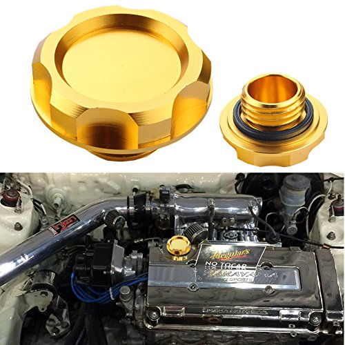 Dewhel Billet Engine Oil Fuel Filler Tank Cap Cover For Honda Acura Civic TL Color Gold