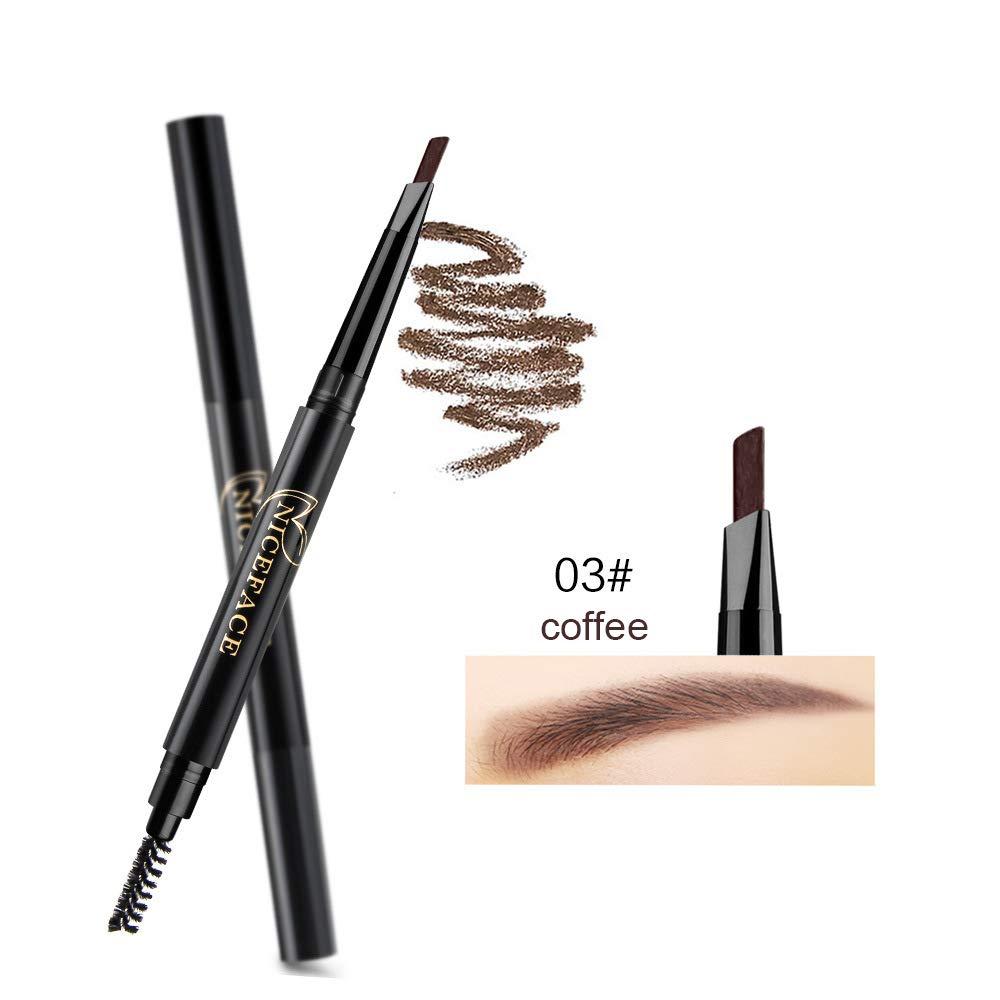 Eyebrow Pencil 2 Packs, NiceFace Waterproof Smudge-proof Automatic Eye Brow Makeup Kit with Eyebrow Brush, Coffee & Dark Brown (set#1)