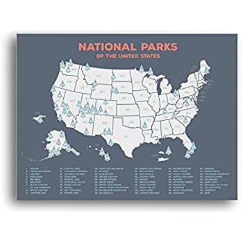 Amazoncom US National Parks Monuments Map X Poster Tan - Wall map of us national parks