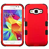 MyBat Cell Case for Samsung Galaxy Core Prime/G360 Hybrid Phone Protector Cover- Retail Packaging - Black/Red