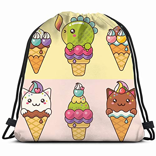 lovely delicious ice cream kittens small food and drink cat Gym Sack Bag Drawstring Sport Beach Travel Outdoor Backpack for Women 17X14 Inch