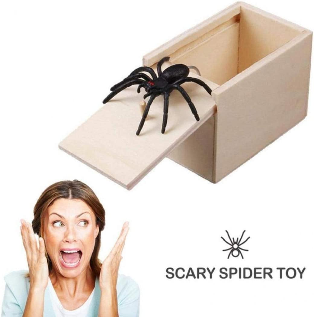 PiniceCore Fool Your Friend Spider Toy Funny Scare Box Spider Hidden in Case Prank-wooden Scare Box Joke Trick Play Toys