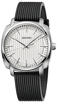Calvin Klein Highline Gents Silver Dial Silicone Mens Watch K5m311d6