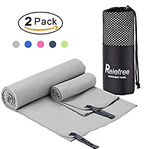 Relefree Microfiber Towel, 2 Pack Travel and Sports Towel, Quick Drying, Lightweight, Ultra Absorbent, Compact for Fitness, Camping, Swimming, Backpacking, Beach, Yoga, Pilates, Gym, Bath, Shower