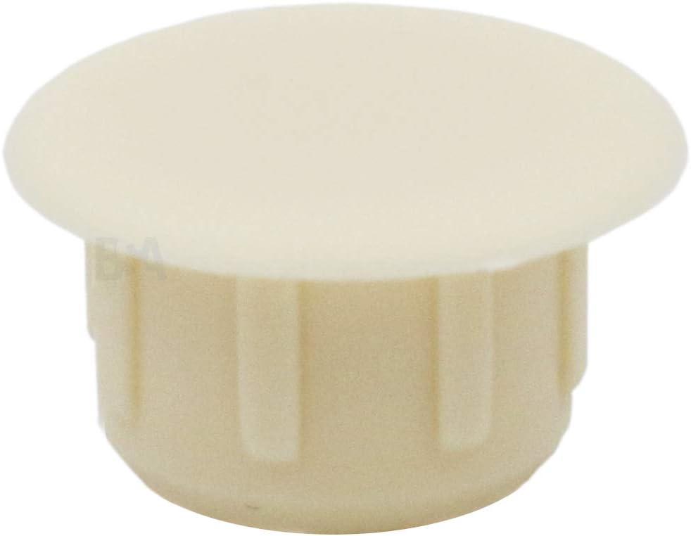 IROX MTP100614CI Lot de 10 bouchons cache-trou 10 mm Blanc cr/ème blanc plastique Profondeur trou 6 mm T/ête 14 mm Bouchon cache trou pour meubles 10 mm