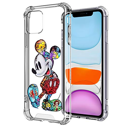 DISNEY COLLECTION Mickey Crystal Clear Case for iPhone 11 [6.1 Inch] 2019, with 4 Corners Shock Skid Proof Scratch-Resistant Protection PC+TPU Cover Materials