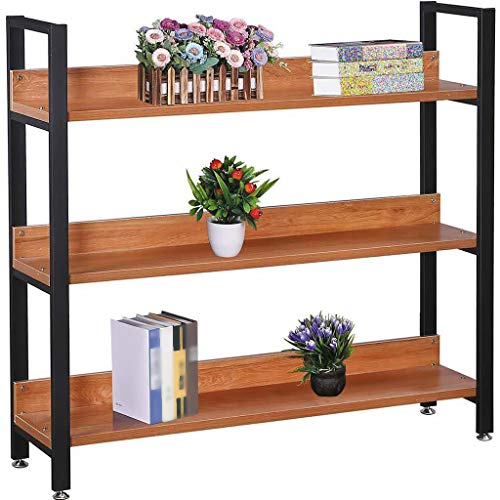 (US Fast Shipment Quaanti 3 Shelf Bookcase,Bookshelf Industrial Style Steel Wood Bookshelves,Open Wide Home Office Book Shelf,Living Room Free Standing Showcase Storage Shelf Units (Orange))