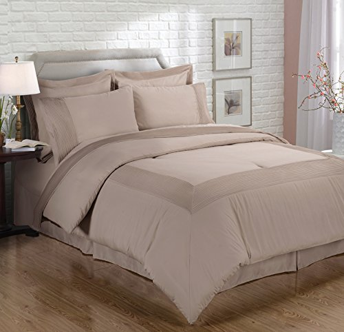 Chezmoi Collection 8-piece Pleated Hem Solid Color Comforter Set Bed-in-a-bag (Mocha, Full)