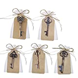 Cheap Awtlife 50 Pcs Vintage Key Bottle Open and Sheer Bag for Wedding Party Favors 5 Style