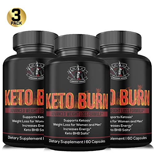3 Pack - Keto Burn Diet Pills - BHB Capsules with Exogenous Ketones - Support Weight Loss - Appetite Suppressant - Keto Capsules to Support Ketosis and Keto Diet - Mercenary Muscle (Slim Vox Weight Loss Pills)