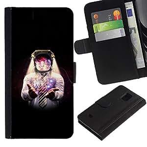 // PHONE CASE GIFT // Moda Estuche Funda de Cuero Billetera Tarjeta de crédito dinero bolsa Cubierta de proteccion Caso Samsung Galaxy S5 Mini, SM-G800 / Space Galaxy Man /