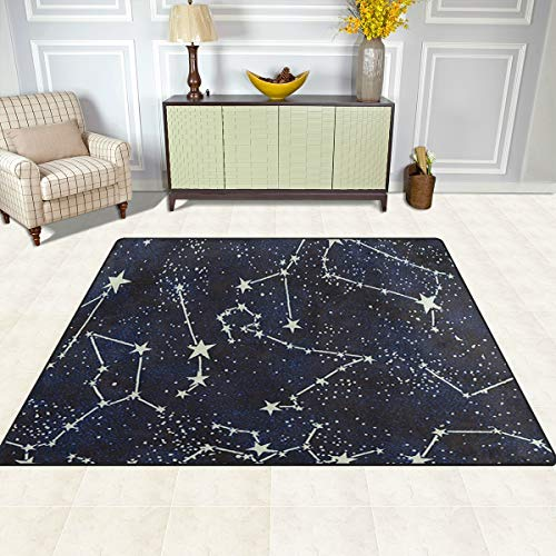 Gaz X Glow In The Dark Constellations Midnight Area Rug Rugs for Living Room Bedroom 7' x 5'