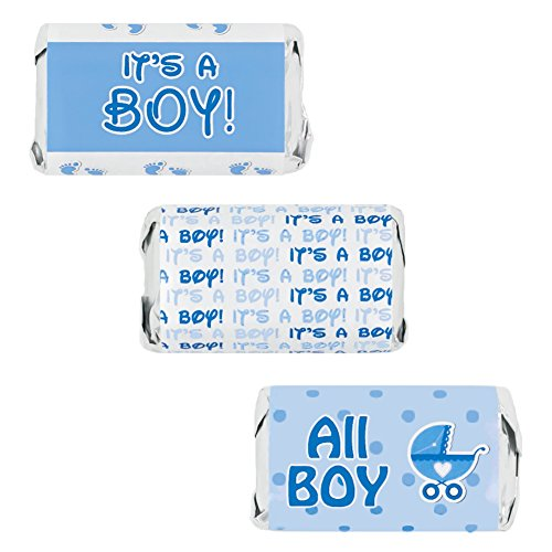Boy Baby Shower Favors Miniatures Candy Bar Wrapper Stickers, 54 Count (Blue Baby Boy) -