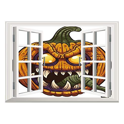 SCOCICI Window Mural Wall Sticker/Halloween,Scary Pumpkin Monster Evil Character with Fangs Aggressive Cartoon,Purple Orange Dark Green/Wall Sticker Mural