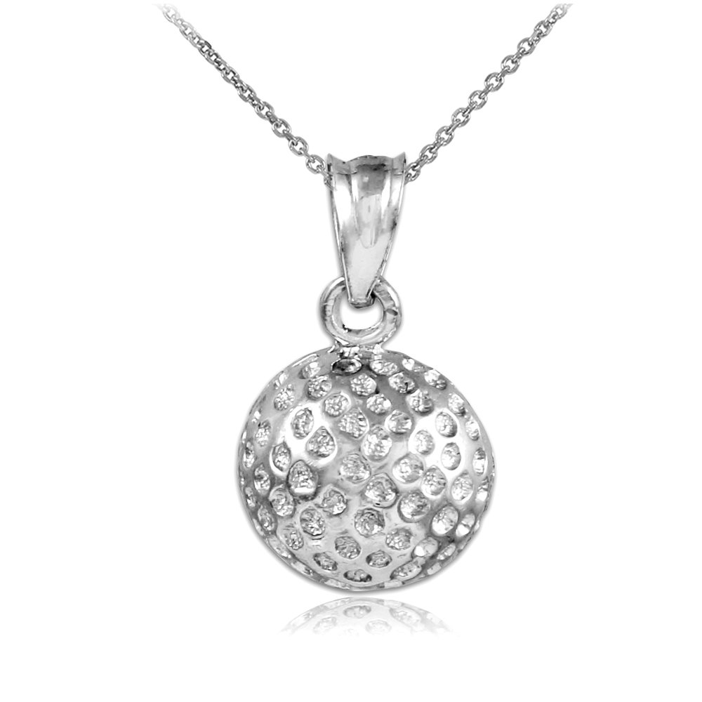 10k White Gold Golf Ball Charm Sports Pendant Necklace, 16''
