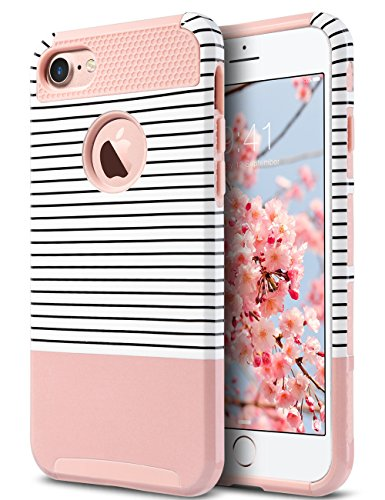 Colorful Protective Case (iPhone 7 Case, ULAK Colorful Series Slim Hybrid Scratch Resistant Hard Back Cover Shock Absorbent TPU Bumper Case for Apple iPhone 7 4.7 inch Rose Gold/Black Stripe)