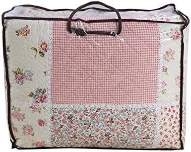 Rose Floral 3 Pièces matelassée Vintage Patchwork Couvre-lit (Rose/Double) Inclure 1 2 Bedspread Pillowcases
