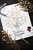 Fingerprint Tree custom wedding guestbook - Original thumbprint guest book alternative (Medium Size Fall Tree) includes 2 ink pads!!