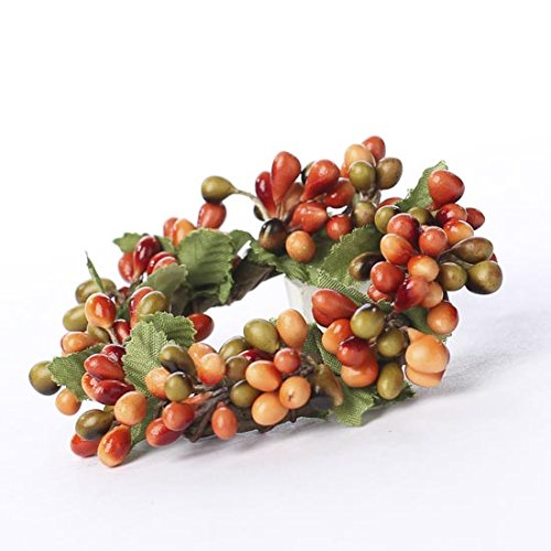 Factory Direct Craft Plump Autumn Pip Berry Miniature Candle or Napkin Rings - 4 Rings by Factory Direct Craft