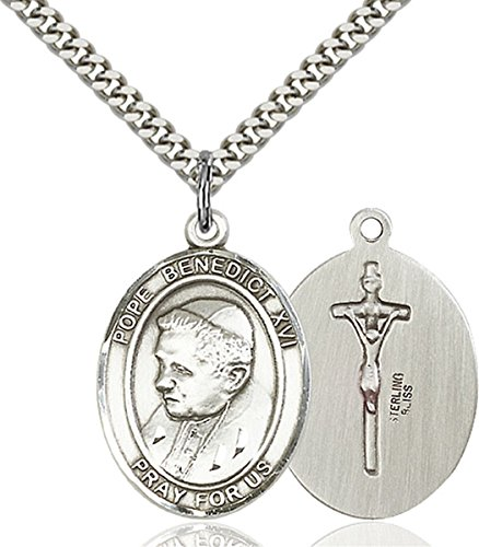 Sterling Silver Pope Benedict XVI Medal Pendant, 1 Inch