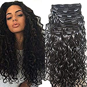 Loose Curly Clip In Human Hair Extension Peruvian Remy Hair Clips In Curly Clip in Hair Extension 10Pcs 100g (28inch…