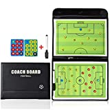 ALIXIN-Magnetic Football Coaching Board Foldable Strategy Teaching Clipboard Tactics Kit,Soccer Football Tactical Board Trainning Assisitant Equipments,PU Cover with Marker Pieces and Write-Wipe Pen.