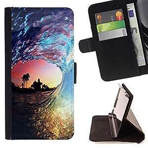 - Surfing Windsurfing Waves Sea Sunshine Beach/ Personalizada del estilo del dise???¡Ào de la PU Caso de encargo del cuero del tir????n del soporte d - Cao - For Samsung Galaxy S5 Mini, SM-G800