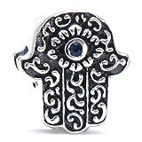 Authentic BELLA FASCINI Hamsa Hand of Fatima Symbol of Protection Bead Charm - 925 Silver - Fits Bracelet
