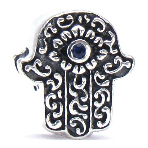 Bella Fascini Hamsa   Hand Of Fatima Cz Eye Of Protection Bead Charm Silver Fits Compatible Bracelets