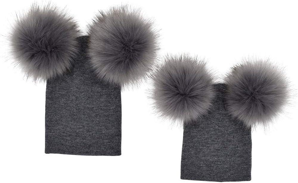 Parents-Children Classic Hat Hairballs Knit Cap Warm Beanie for Cold Winter