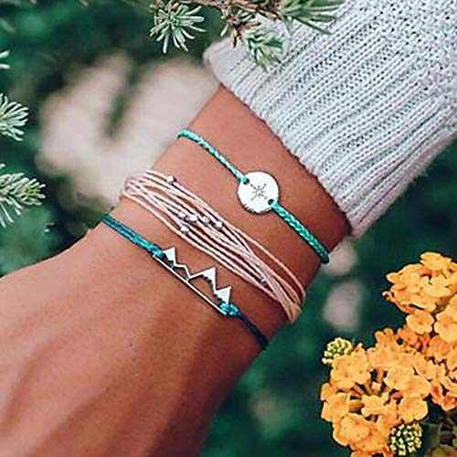 Bohemian Wax Line Geometric Beaded Hemp Rope Compass Hollow Mountain Bracelet Adjustable Bangle Bracelet Anklet ()