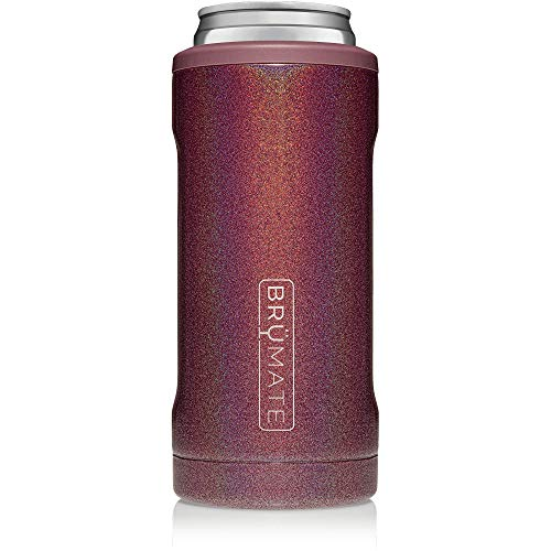 BrüMate Hopsulator Slim Double-walled Stainless Steel Insulated Can Cooler for 12 Oz Slim Cans (Glitter Merlot) (The Most Ugly Girl In The World)