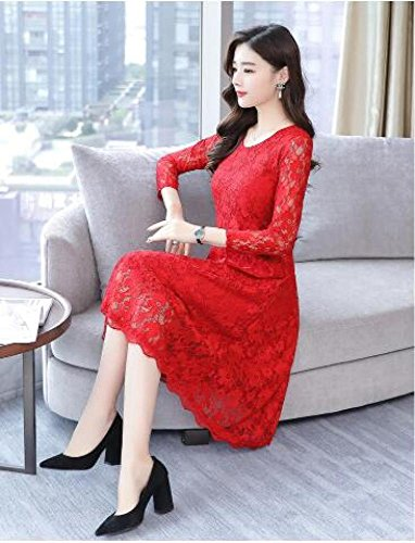 MoMo Frühlingsfrauen langärmelige lange Spitze unten Kleid Kleid  Temperament schlankes dünnes Kleid Groß Rot CoYDA5 ... fc7fc45e8b