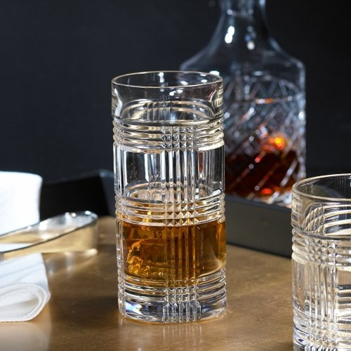 (4 Ralph Lauren Glen Plaid Crystal Highball Tumblers Glasses)