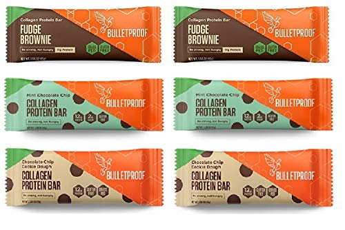 Bulletproof Collagen Protein Bars 6 Pack, Chocolate Variety Pack, 2 Fudge Brownie, 2 Mint Chocolate Chip, 2 Chocolate Chip Cookie Dough