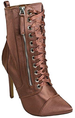 Jjf Chaussures Femmes Lycra Sociale Lace Up Bout Pointu Zip Latéral Talon Haut Talon Bottines Mocha_lexa