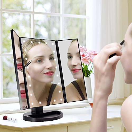Fascinate Lighted Makeup Mirror 21 LED Lights Touch Screen Dimming, Tri-Fold 3X/2X/1X Magnification 180 Degree Rotation Vanity Mirror (Black) by ASCINATE (Image #6)