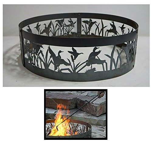 PD Metals Steel Campfire Fire Ring Flying Ducks Design - Unpainted - with Fire Poker - Extra Large 60 d x 12 h Plus Free eGuide by PD Metals