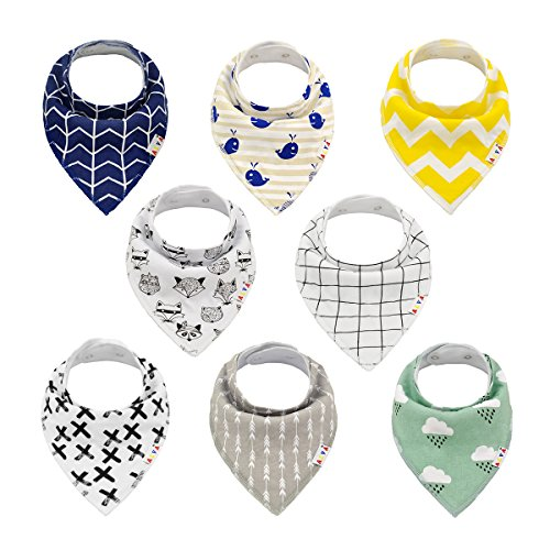 Alva Baby Stylish Unisex Baby Bandana Drool Bibs for Boys and Girls 8 Pack of Super Absorbent Baby Gift Settings SKX01
