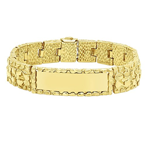 Thick 15mm 14k Gold Plated Large Nugget Textured ID Link (Large Nugget)