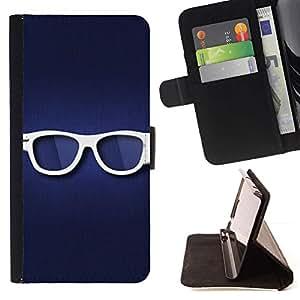 Momo Phone Case / Flip Funda de Cuero Case Cover - Blanco Gafas Hipster Ojo azul del símbolo - Sony Xperia Z5 5.2 Inch (Not for Z5 Premium 5.5 Inch)