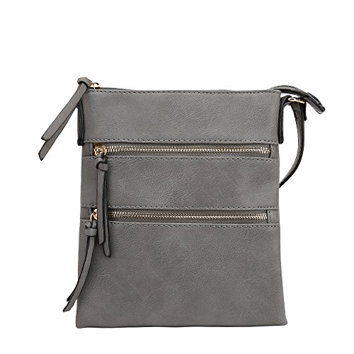 DELUXITY Essential Casual Functional Multi Pocket Double Zipper Crossbody Purse Bag for Women (Grey)