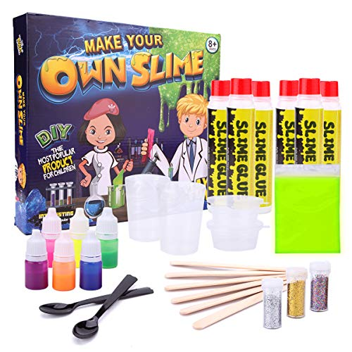 - Slime Newest Kit - Sugoiti DIY Lab Make Your Own Colourful Non Toxic Clay Slime,Glow in the Dark Powder,Fun Science & Chemistry Pre Learning Activity for Boys & Girls of All Ages