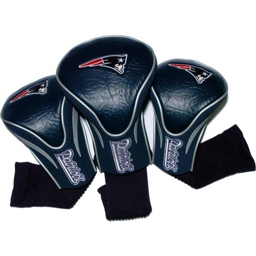 Team Golf NFL New England Patriots Contour Golf Club Headcovers (3 Count), Numbered 1, 3, & X, Fits Oversized Drivers, Utility, Rescue & Fairway Clubs, Velour lined for Extra Club Protection ()