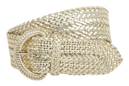 2 Inch Wide Hand Made Soft Metallic Woven Braided Round Belt, Gold | s/m-29